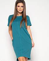Зеленое асимметричное платье из двухнитного трикотажа свободного кроя и короткими рукавами M