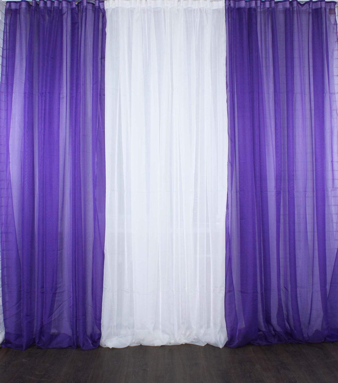 Комплект из шифона, декоративная гардина. Цвет фиолетовый и шампань. 002дк
