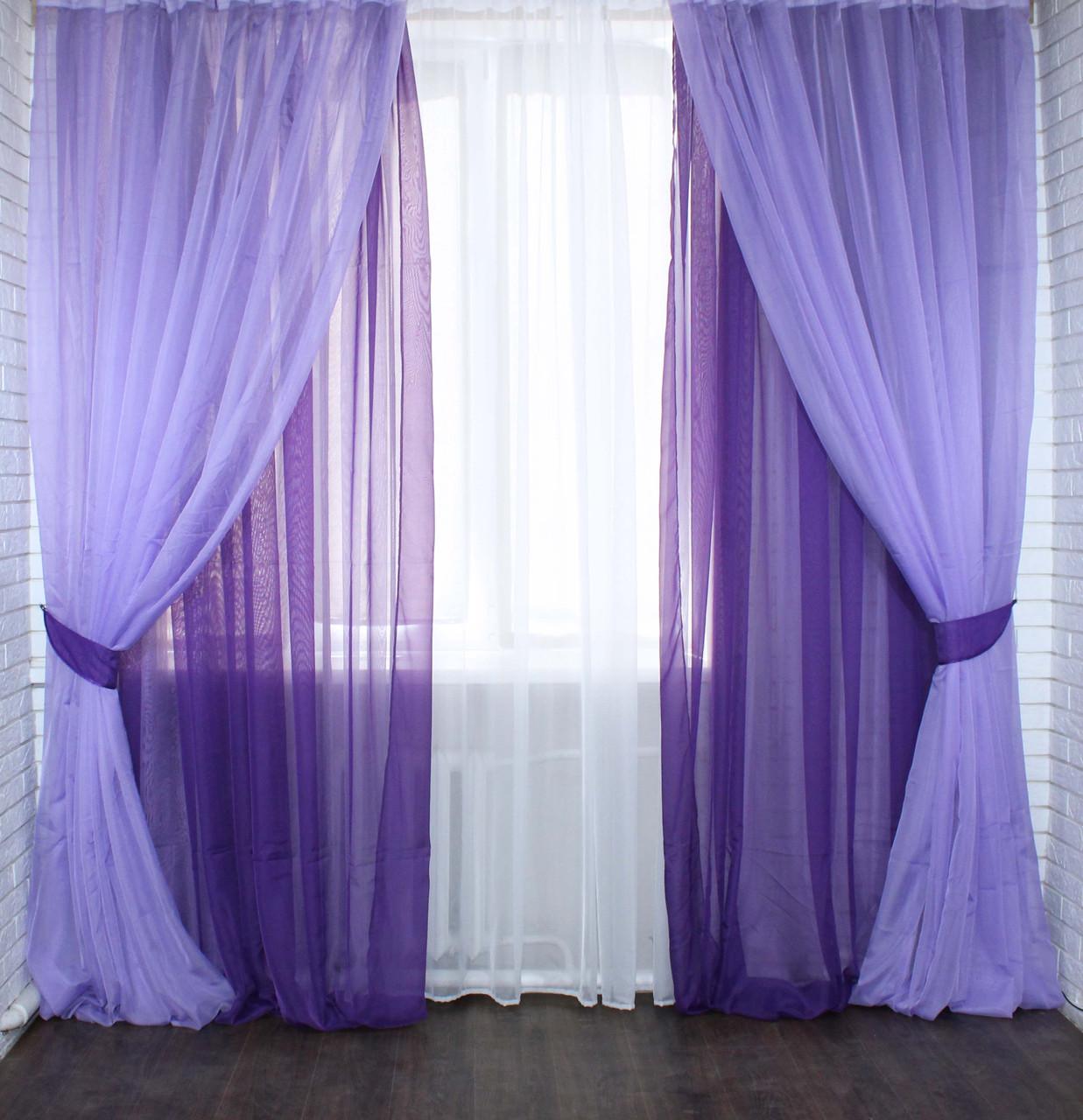 Комплект шифоновых штор и гардина. Цвет фиолетовый с сиреневым 024дк