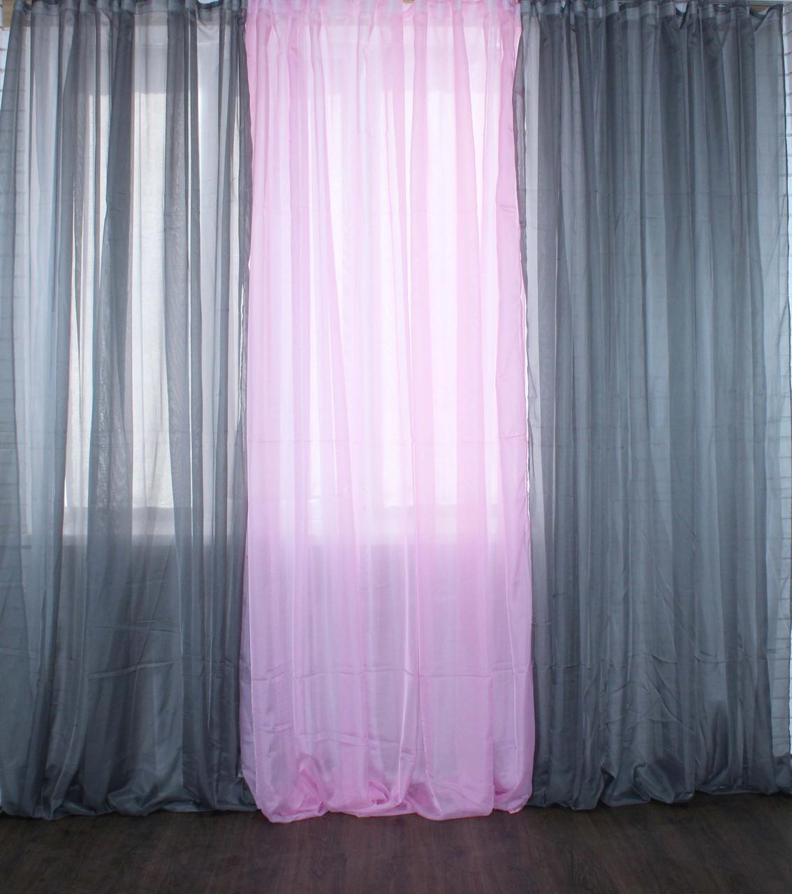 Комплект из шифона, декоративная гардина. Цвет серый с розовым 002дк