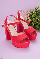 Босоножки женские красные на каблуке 13 см эко- замш, фото 1