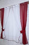 Комплект на кухню, тюль и шторки №38, Цвет бордовый с белым 50-032, фото 2