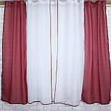 Комплект на кухню, тюль и шторки №38, Цвет бордовый с белым 50-032, фото 4