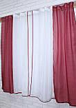 Комплект на кухню, тюль и шторки №38, Цвет бордовый с белым 50-032, фото 5