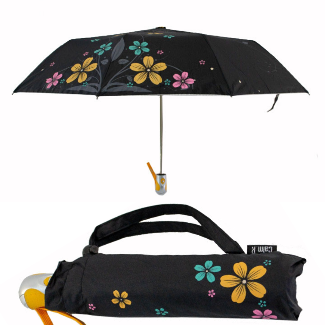 Женский зонт-полуавтомат с серебристым напылением и  цветочным принтом от Max, жетлая ручка, 124-3