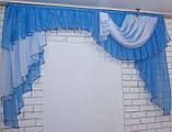 Ламбрекен на карниз 2м. модель №79 Цвет голубой с белым, фото 3