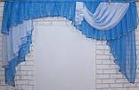 Ламбрекен на карниз 2м. модель №79 Цвет голубой с белым, фото 5