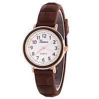 Часы женские Женева Geneva силиконовые Шоколад 123-3, наручные часы, женские часы, мужские часы