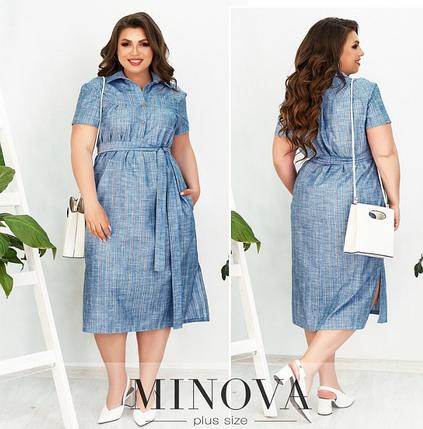 Платье-рубашка лен цвет деним Размеры:  62-64, фото 2
