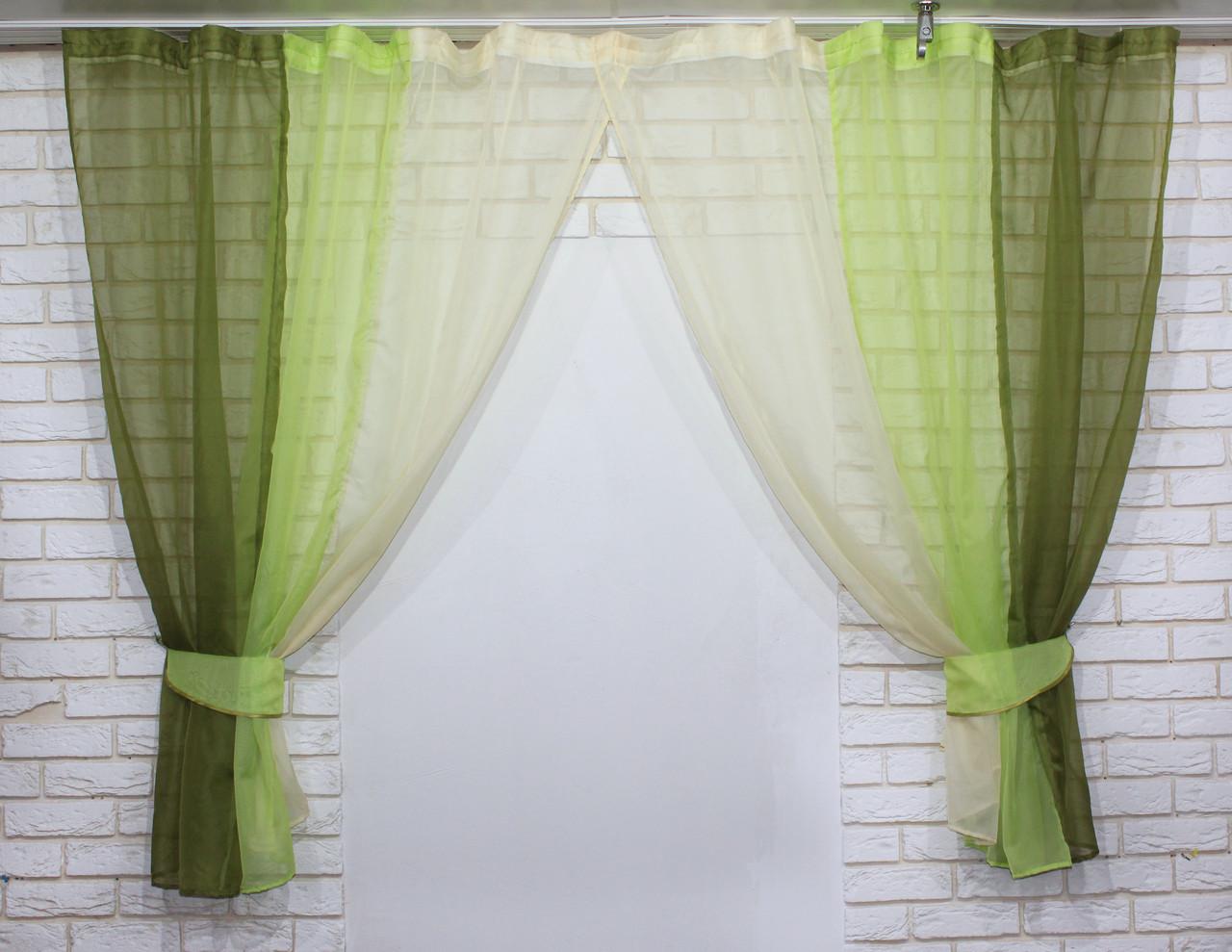 Комплект кухонные шторки с подвязками №54