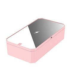 Портативный ультрафиолетовый стерилизатор UV с зеркалом и функцией беспроводной зарядки LED Розов, КОД: 1669710