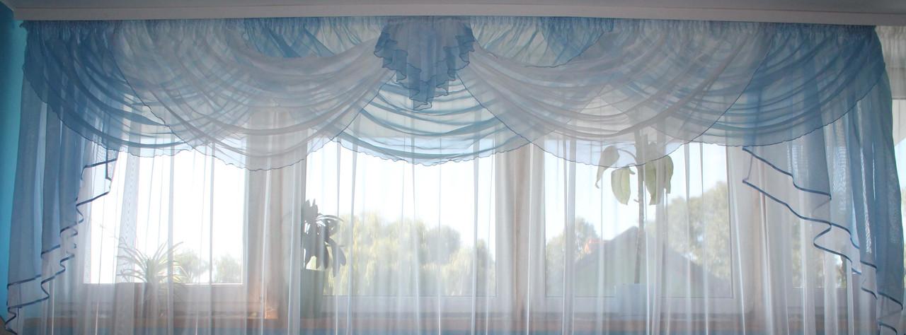 Ламбрекен на карниз 3.5-4м.. Модель №4  Цвет голубой