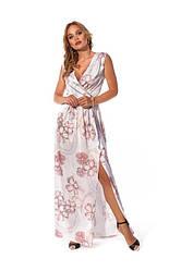 Длиное женское платье цвет: розовый, голубой, персиковый размер 42- 52