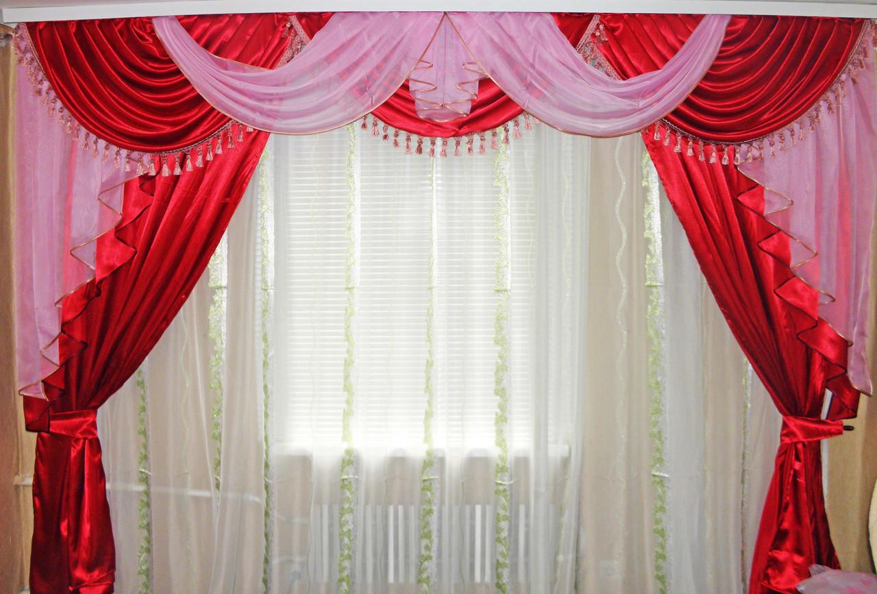 Ламбрекен №35 +  шторы. Цвет красный с розовым