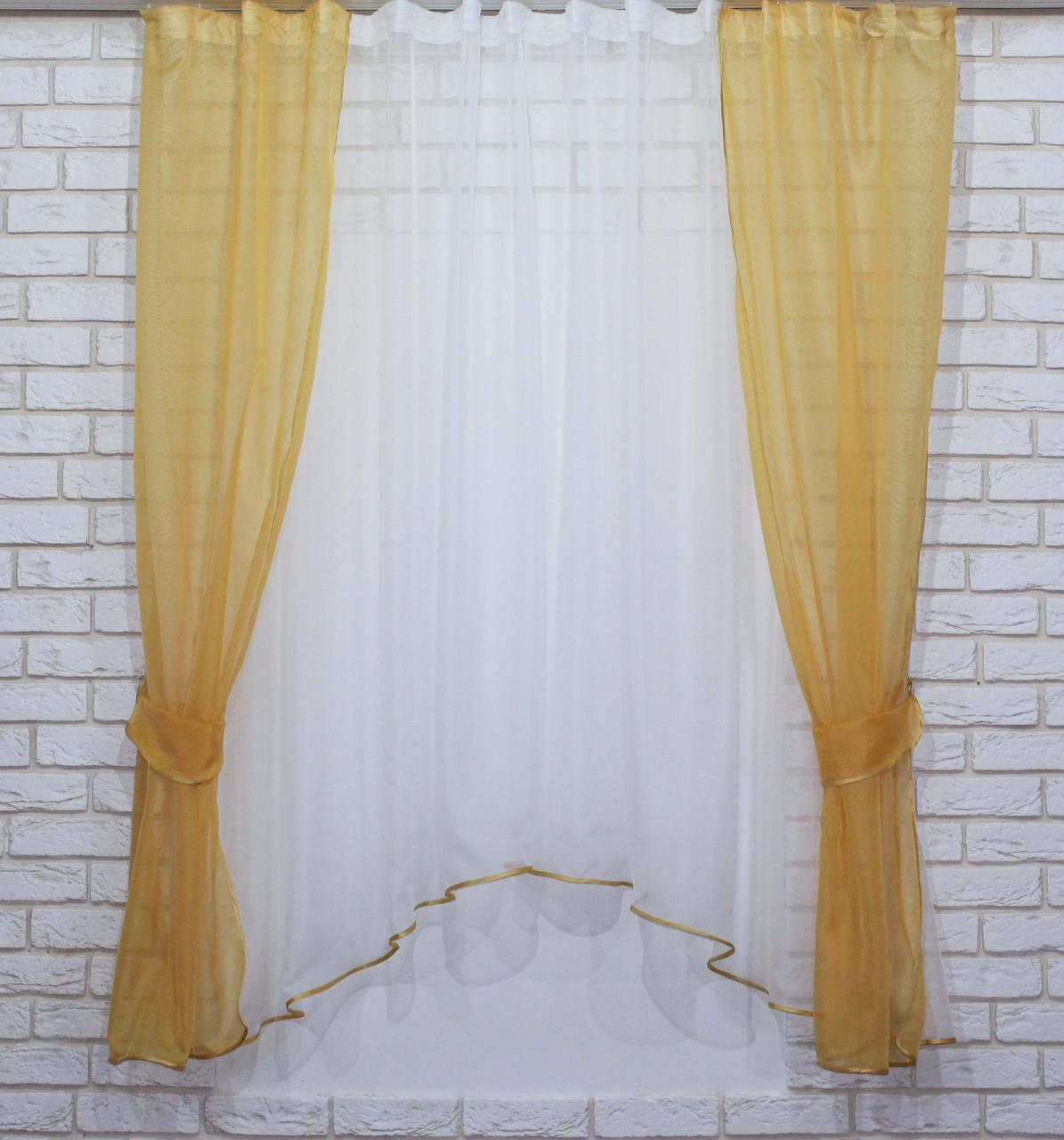 Комплект на кухню, тюль и шторки №51, Цвет янтарный с белым 2,8*2м  59-008