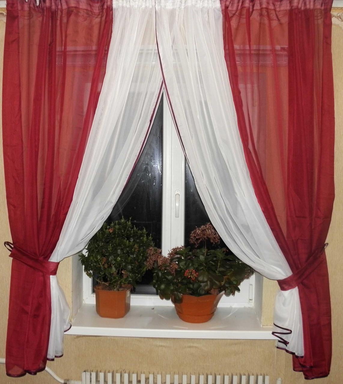 Комплект кухонные шторки с подвязками №17 Цвет бордовый с белым (2,6*1,5) 59-003