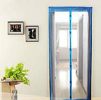 Антимоскитная сетка штора на дверь на магнитах Magic mesh без рисунка (218х110). Голубая, товары для кухни, товары для дома