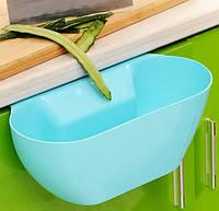 Ведро контейнер навесное на дверцу мебели для мелкого мусора (Голубое), товары для кухни, товары для дома