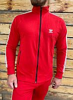 Мастерка  мужская спортивная красная с полосками адидас
