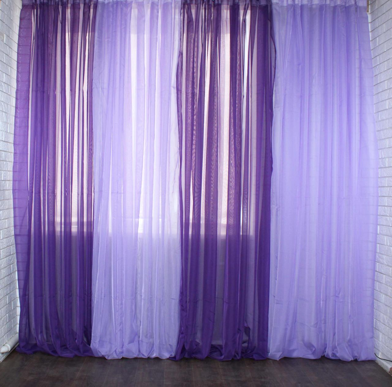 Декоративная гардина из шифона. Цвет фиолетовый с сиреневым 012дк