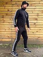 Мастерка  мужская спортивная черная с полосками адидас