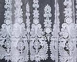 Тюль фатин с вышивкой, цвет белый. Код 280т   3*2,50м  40-163, фото 3