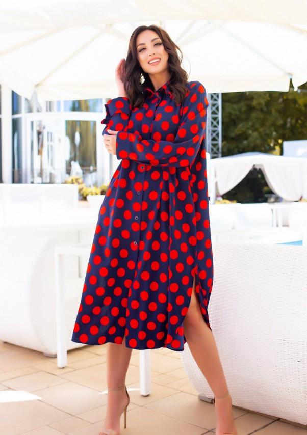 Синее платье-рубашка в красный горошек L
