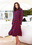 Синее платье-рубашка в красный горошек L, фото 3