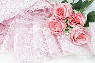 """Мереживо """"Блюмарин"""" колір зефірно-рожевий, на дрібній сіточці 13 див. Туреччина (без напису)"""
