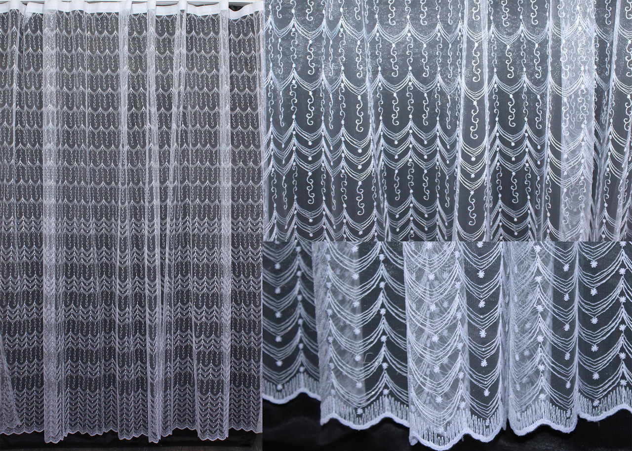 Тюль фатин с вышивкой, цвет белый. Код 440т(3*2,5) 40-026