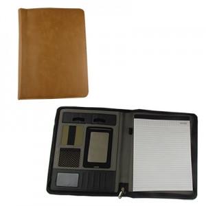 Папка А4 с карманом и блоком для записей на молнии кожзам  бежевая № 3-273