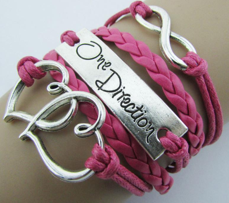 Браслет 5в1 розовый One Direction (tb936), Бижутерия