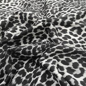Трикотаж микродайвинг принт леопард серый