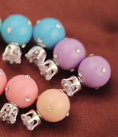 Серьги Диор Dior Сиреневые с камнями, Бижутерия