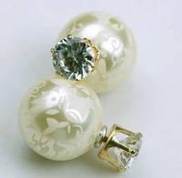 Серьги Dior Диор Узоры цвет слоновая кость, Бижутерия