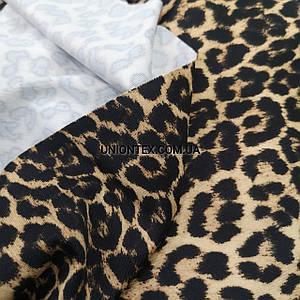 Трикотаж микродайвинг принт леопард коричневый