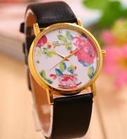 Часы наручные женские Женева Цветы черный ремешок, наручные часы, женские часы, мужские часы
