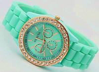 Часы женские GENEVA ЖЕНЕВА со стразами Мята, наручные часы, женские часы, мужские часы