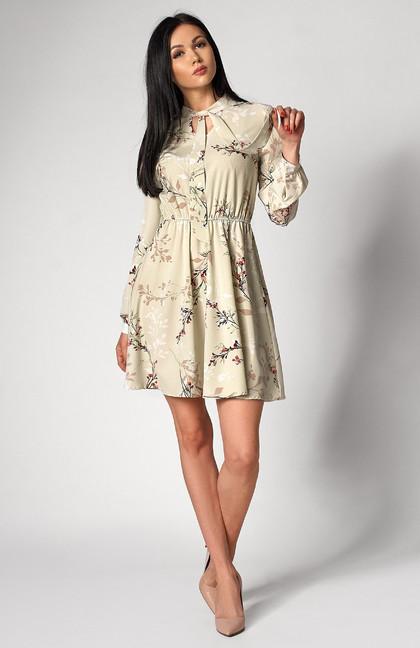 Легкое платье оливкового цвета с длинным рукавом. Модель 1248. Размеры 44-50