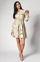 Легкое платье оливкового цвета с длинным рукавом. Модель 1248. Размеры 44-50, фото 1