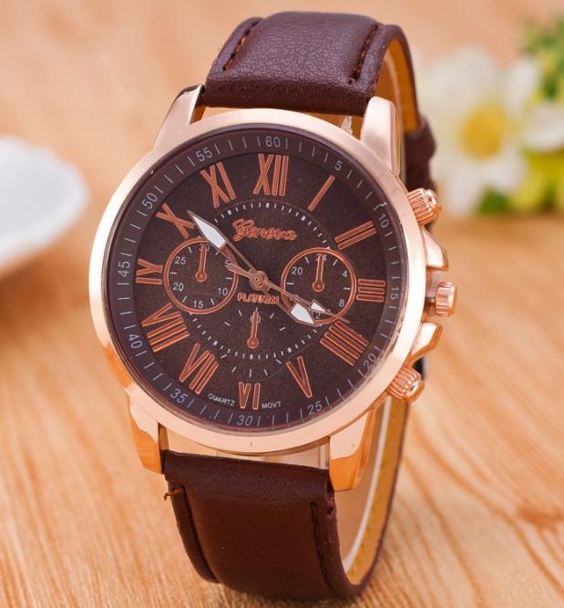 Часы Женева Geneva Римские цифры коричневые, наручные часы, женские часы, мужские часы