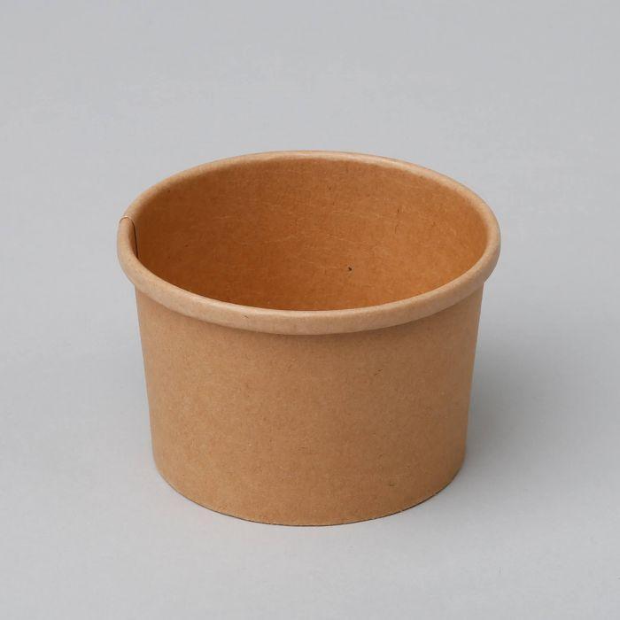 Контейнер бумажный для мороженого 1РЕ крафт 280мл Ǿ=87мм Ǿ=70мм Без крышки (Крышка 011592)