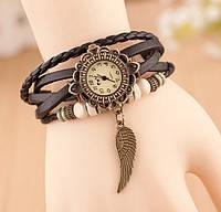 Часы-браслет с подвеской Крыло черные, наручные часы, женские часы, мужские часы