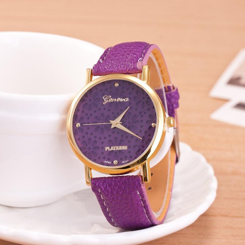 Часы женские Женева Geneva Цветы сиреневые 065-06, наручные часы, женские часы, мужские часы
