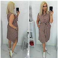 Сукня-сорочка в горох жіноче батальне МОККО (ПОШТУЧНО)