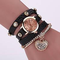 Часы-браслет длинные, наматывающиеся на руку Черные 089-6, наручные часы, женские часы, мужские часы