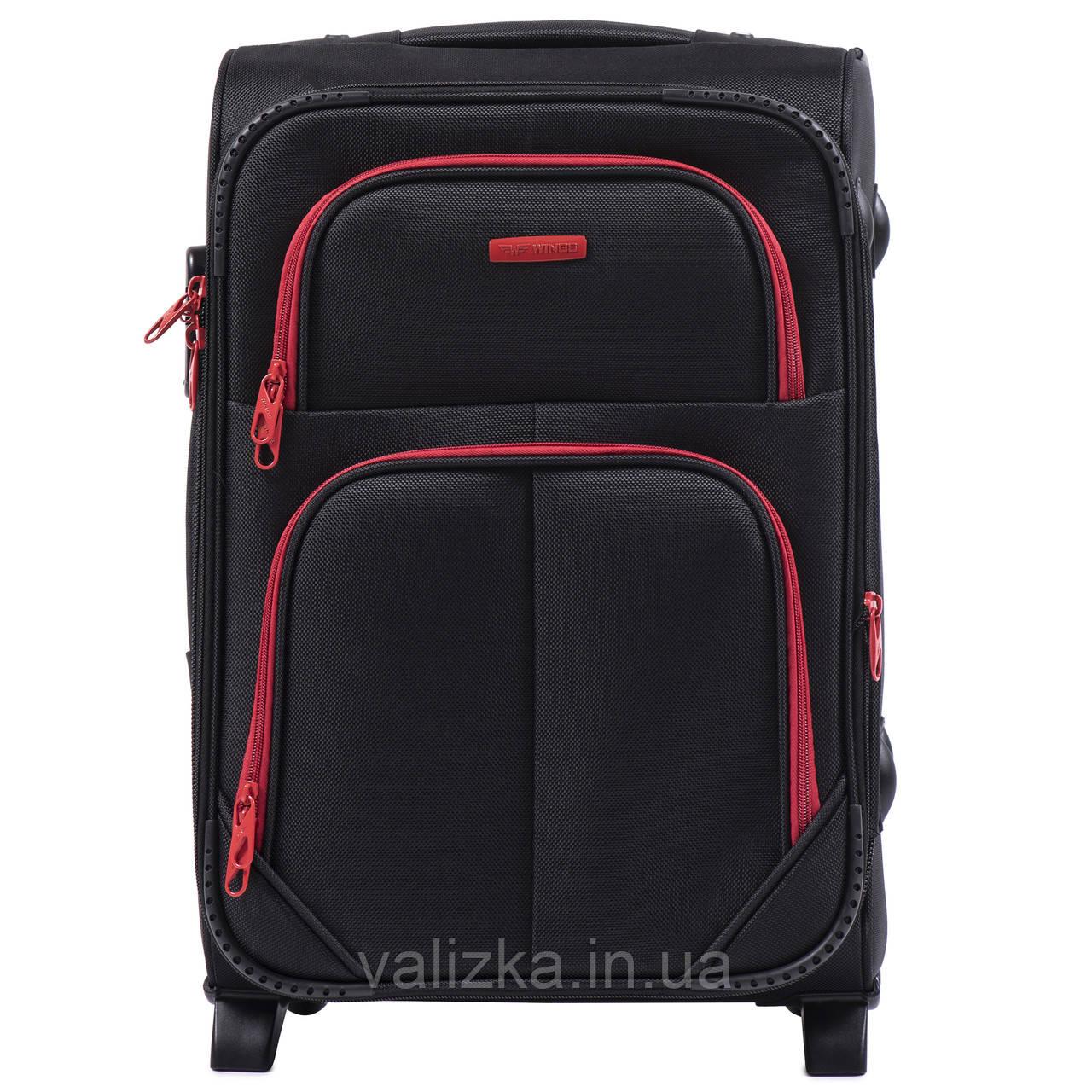 Малий текстильний валізу чорний з розширювачем Wings 214