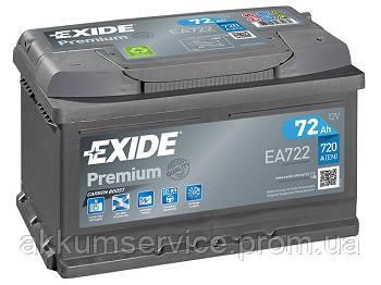 Аккумулятор автомобильный Exide Premium 72AH R+ 720А (EA722)