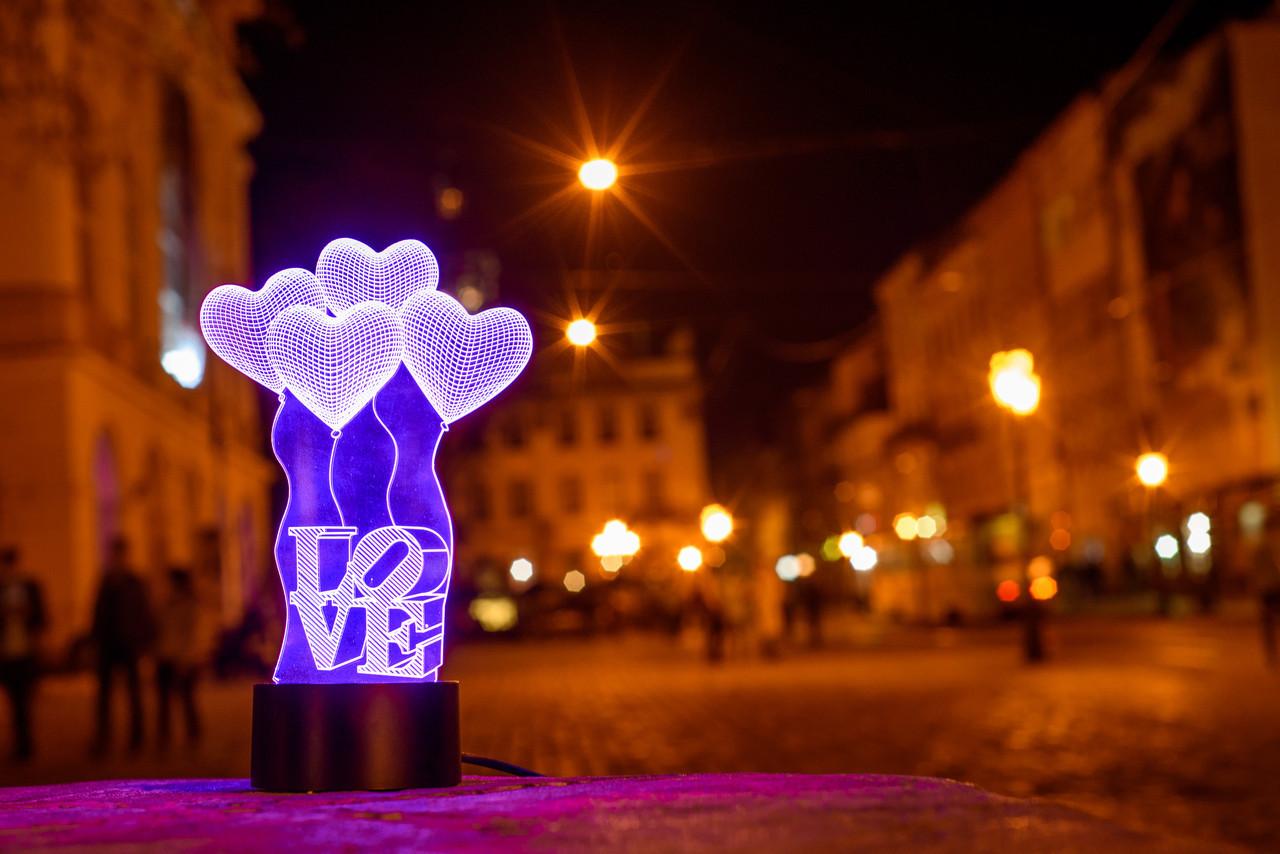 """Дитячий нічник - світильник """"Сердечка LOVE"""" 3DTOYSLAMP"""