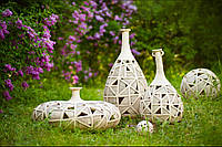 Світлодіодний світильник садовий декоративний ВАЗА плетена плоска, фото 1